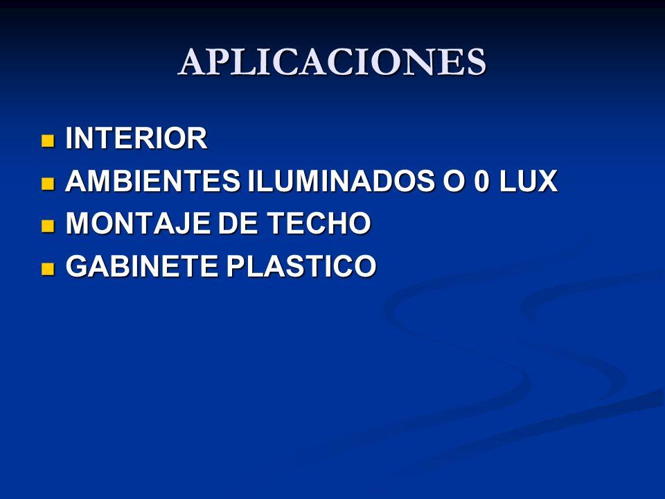 APLICACIONES INTERIOR AMBIENTES ILUMINADOS O 0 LUX MONTAJE DE TECHO