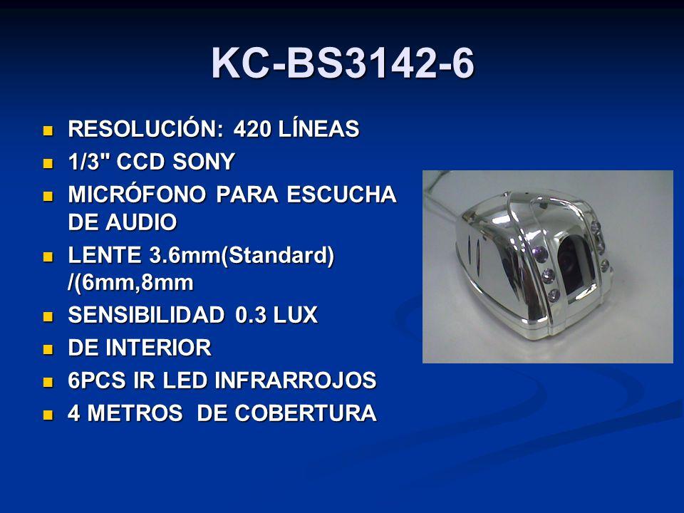 KC-BS3142-6 RESOLUCIÓN: 420 LÍNEAS 1/3 CCD SONY