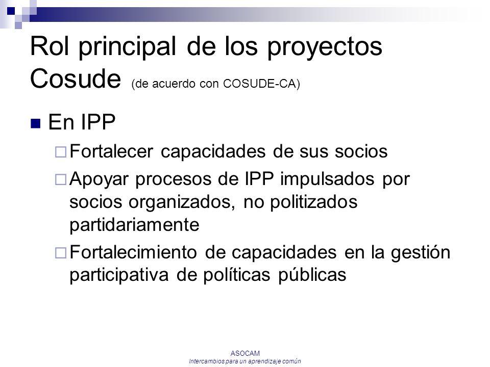 Rol principal de los proyectos Cosude (de acuerdo con COSUDE-CA)