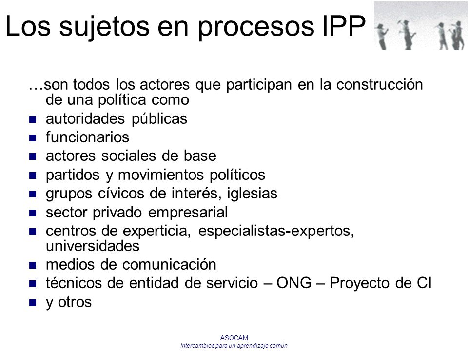 Los sujetos en procesos IPP