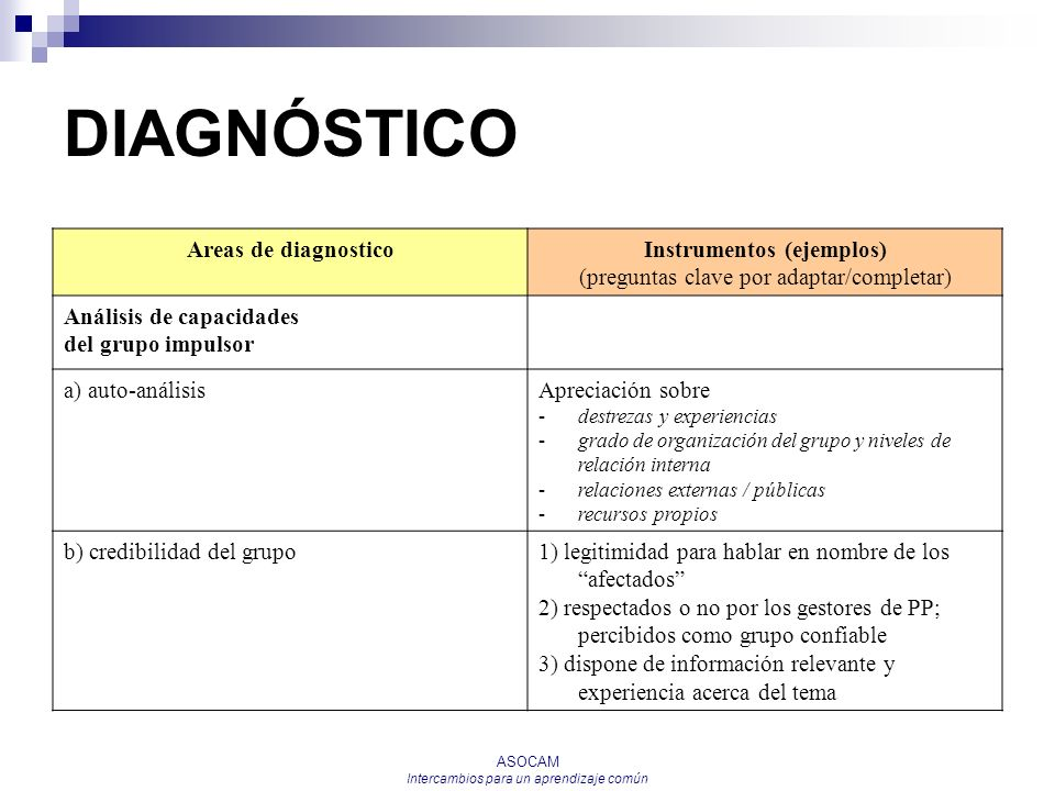 DIAGNÓSTICO Areas de diagnostico Instrumentos (ejemplos)
