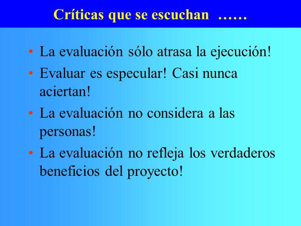 Críticas que se escuchan ……