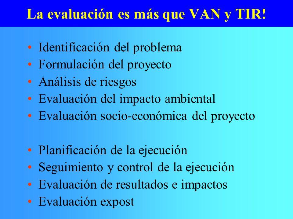 La evaluación es más que VAN y TIR!