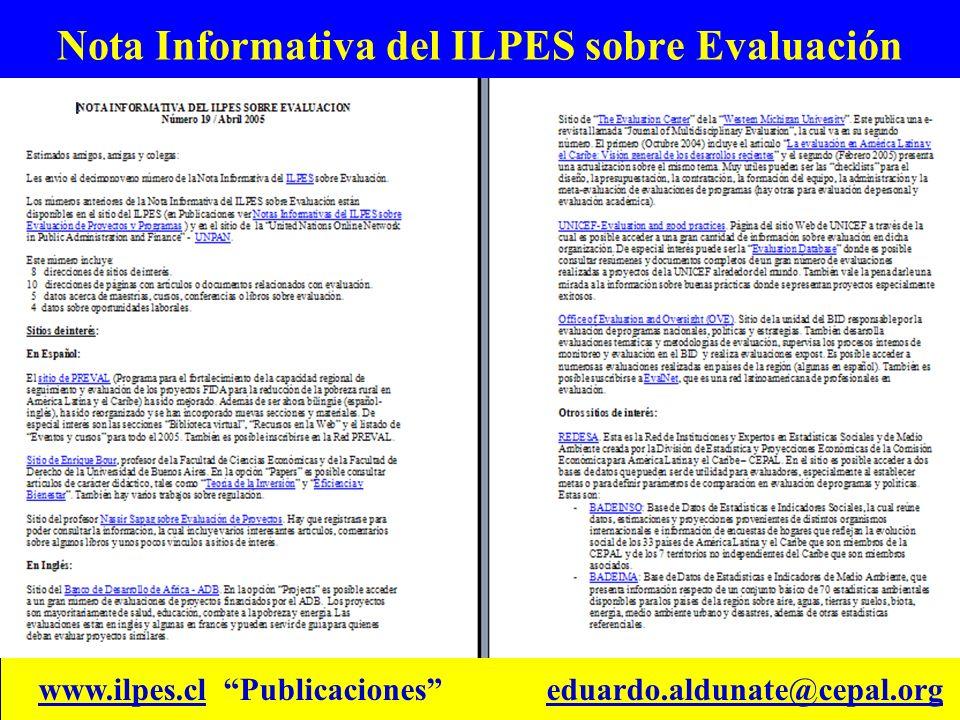 Nota Informativa del ILPES sobre Evaluación