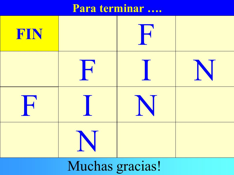 Para terminar …. FIN F F I N F I N N Muchas gracias!