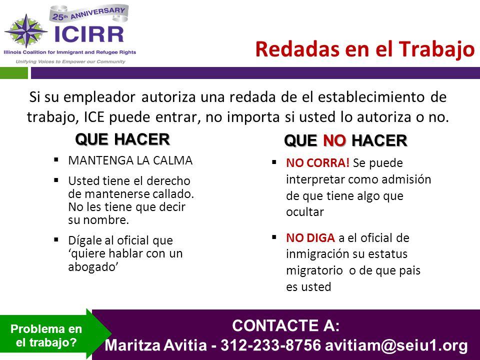 Maritza Avitia - 312-233-8756 avitiam@seiu1.org