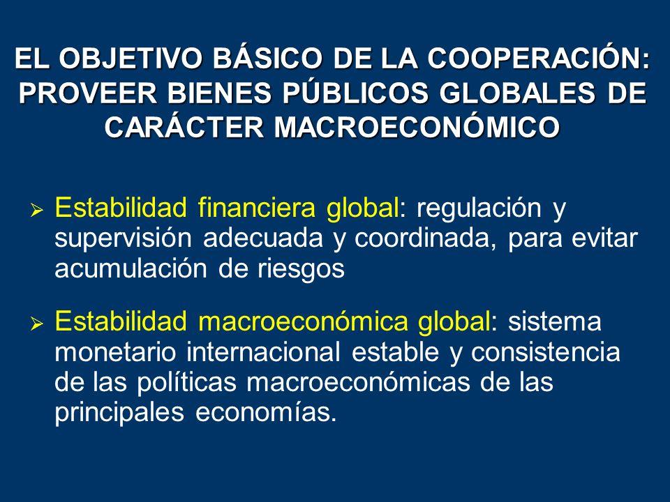 EL OBJETIVO BÁSICO DE LA COOPERACIÓN: PROVEER BIENES PÚBLICOS GLOBALES DE CARÁCTER MACROECONÓMICO