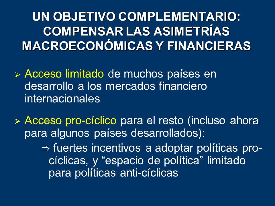 UN OBJETIVO COMPLEMENTARIO: COMPENSAR LAS ASIMETRÍAS MACROECONÓMICAS Y FINANCIERAS