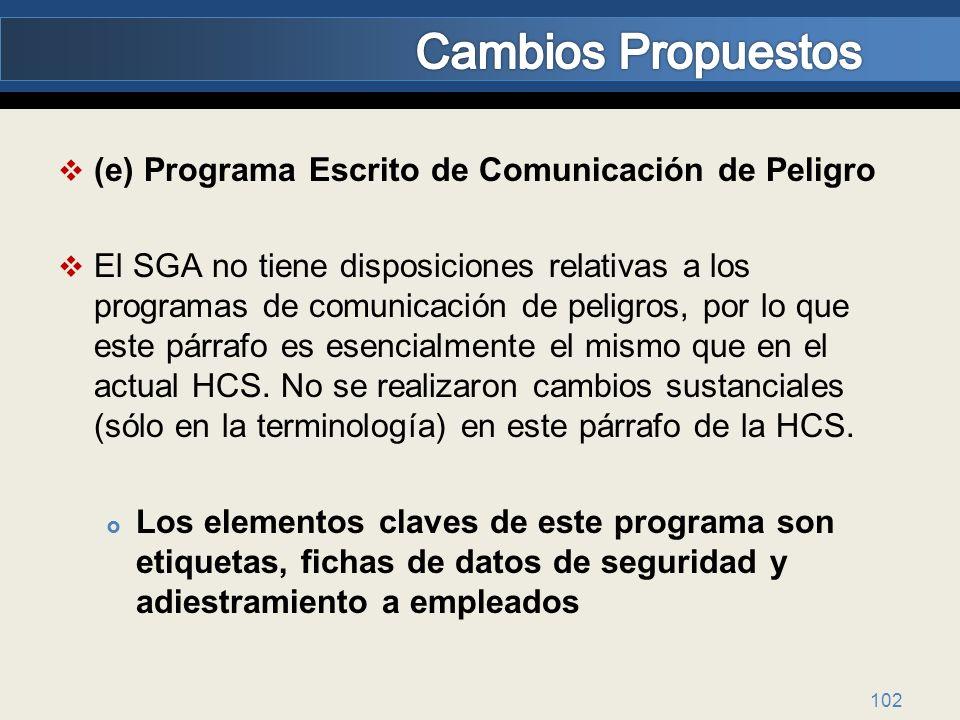 Cambios Propuestos (e) Programa Escrito de Comunicación de Peligro