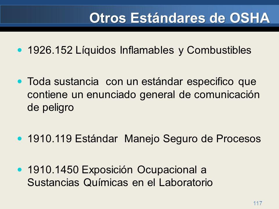Otros Estándares de OSHA