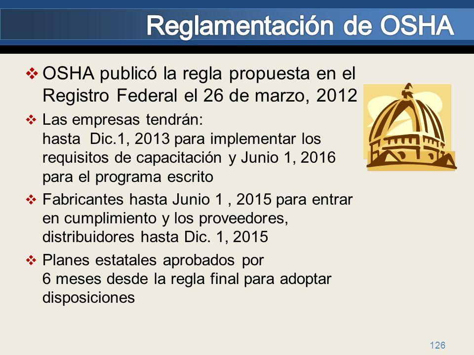 Reglamentación de OSHA