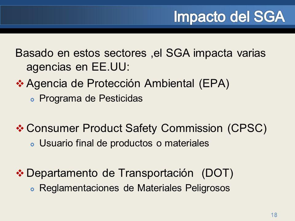 Impacto del SGA Basado en estos sectores ,el SGA impacta varias agencias en EE.UU: Agencia de Protección Ambiental (EPA)