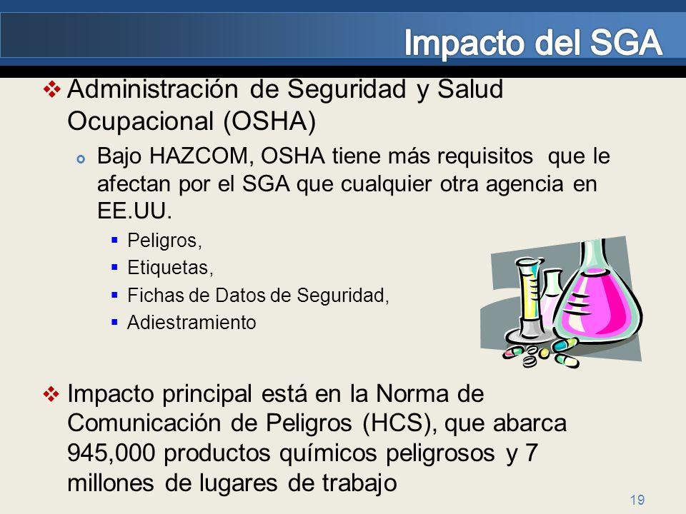 Impacto del SGA Administración de Seguridad y Salud Ocupacional (OSHA)