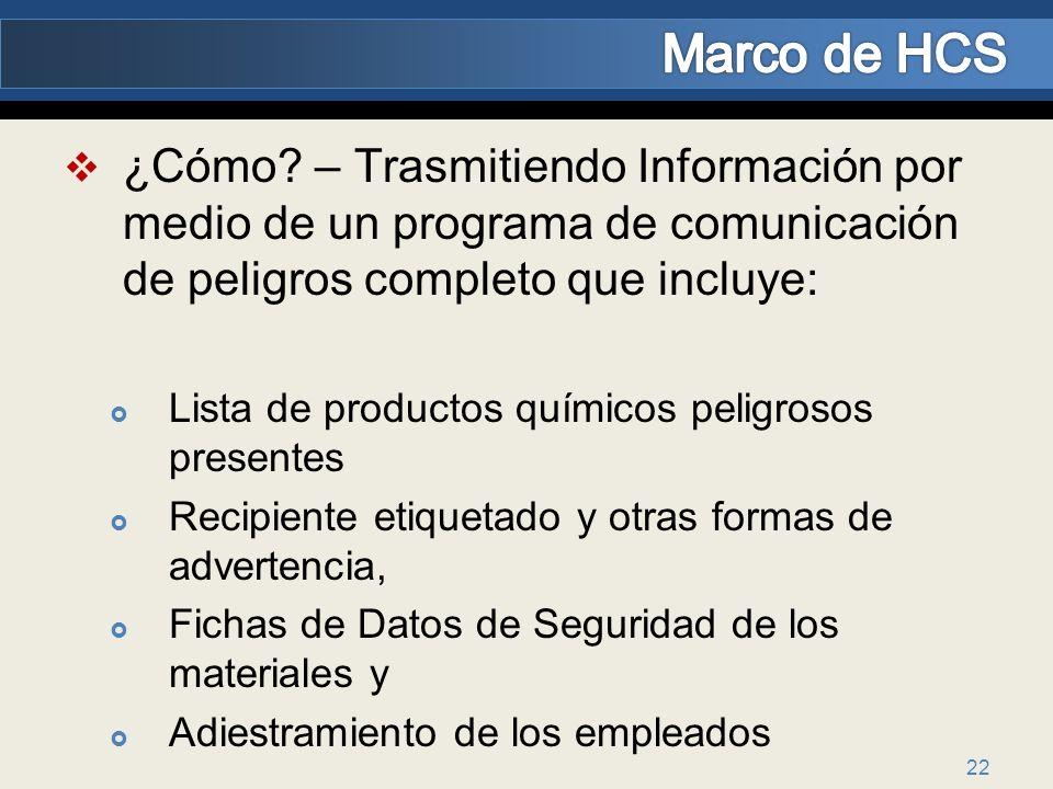 Marco de HCS ¿Cómo – Trasmitiendo Información por medio de un programa de comunicación de peligros completo que incluye:
