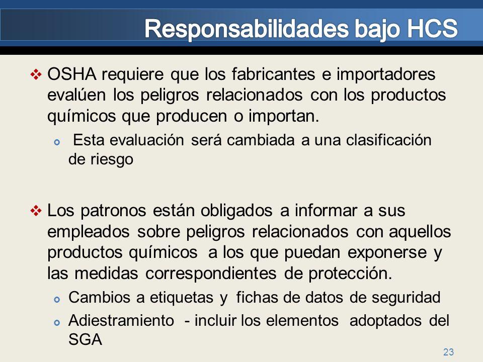 Responsabilidades bajo HCS