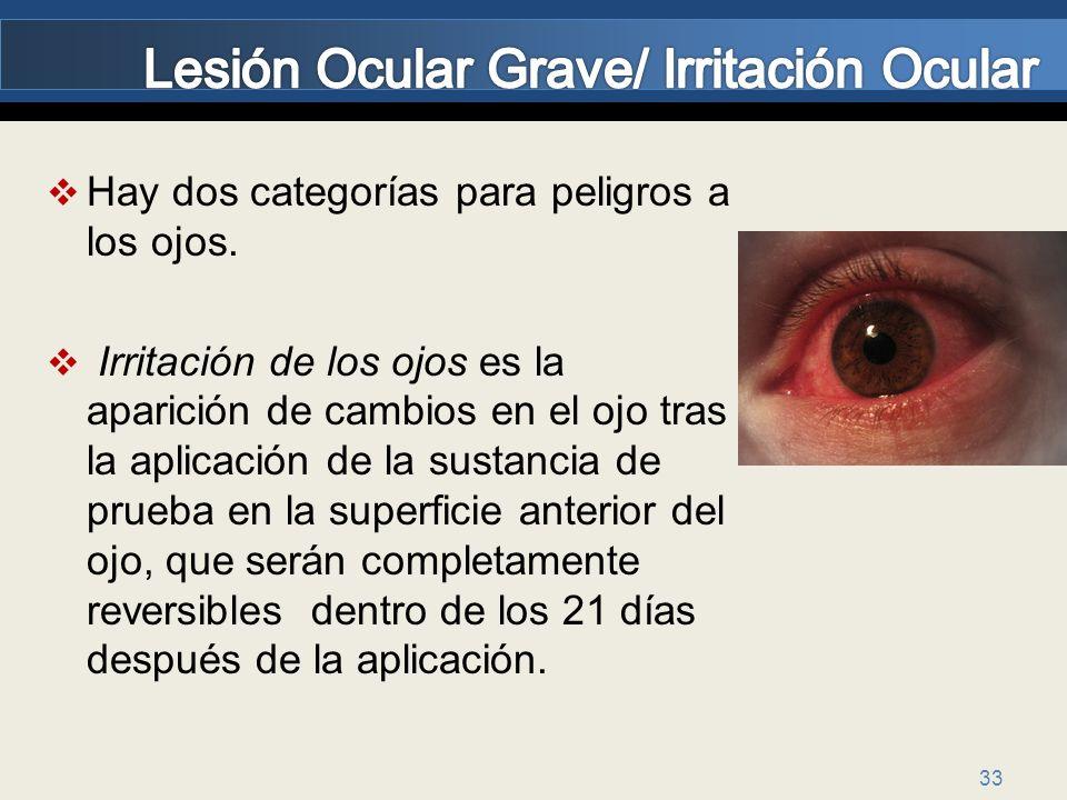 Lesión Ocular Grave/ Irritación Ocular