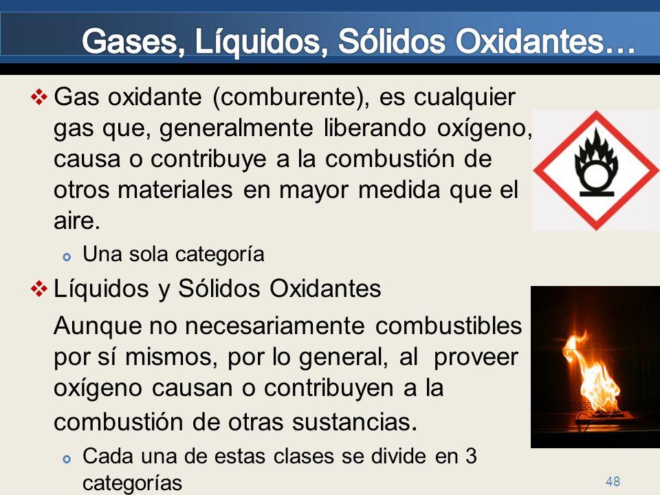 Gases, Líquidos, Sólidos Oxidantes…