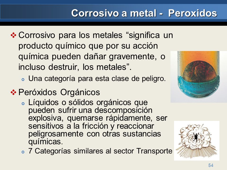 Corrosivo a metal - Peroxidos