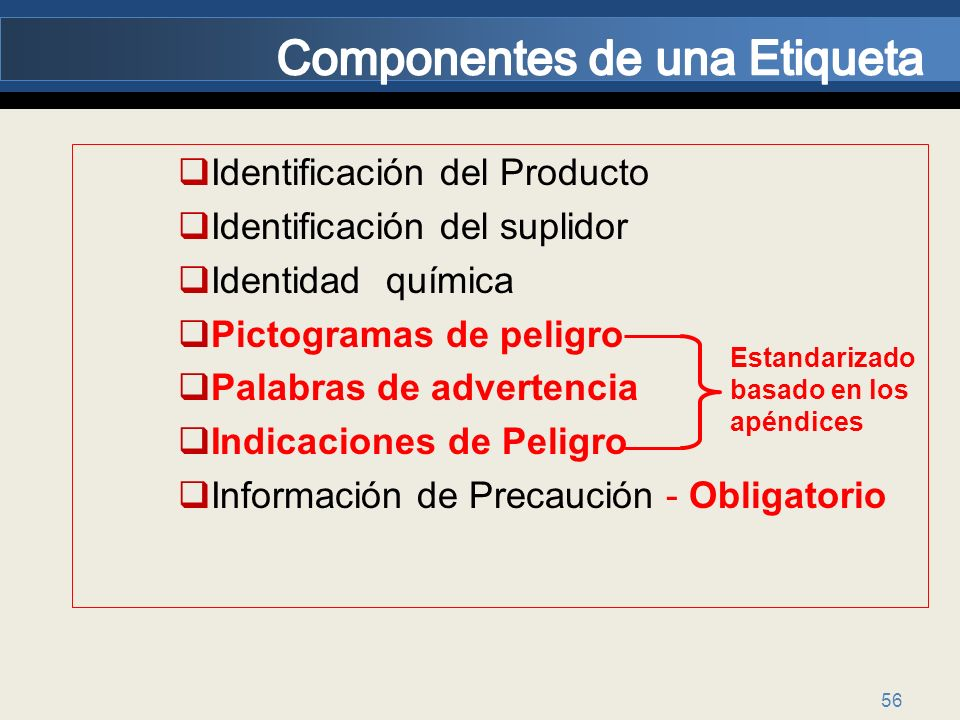 Componentes de una Etiqueta