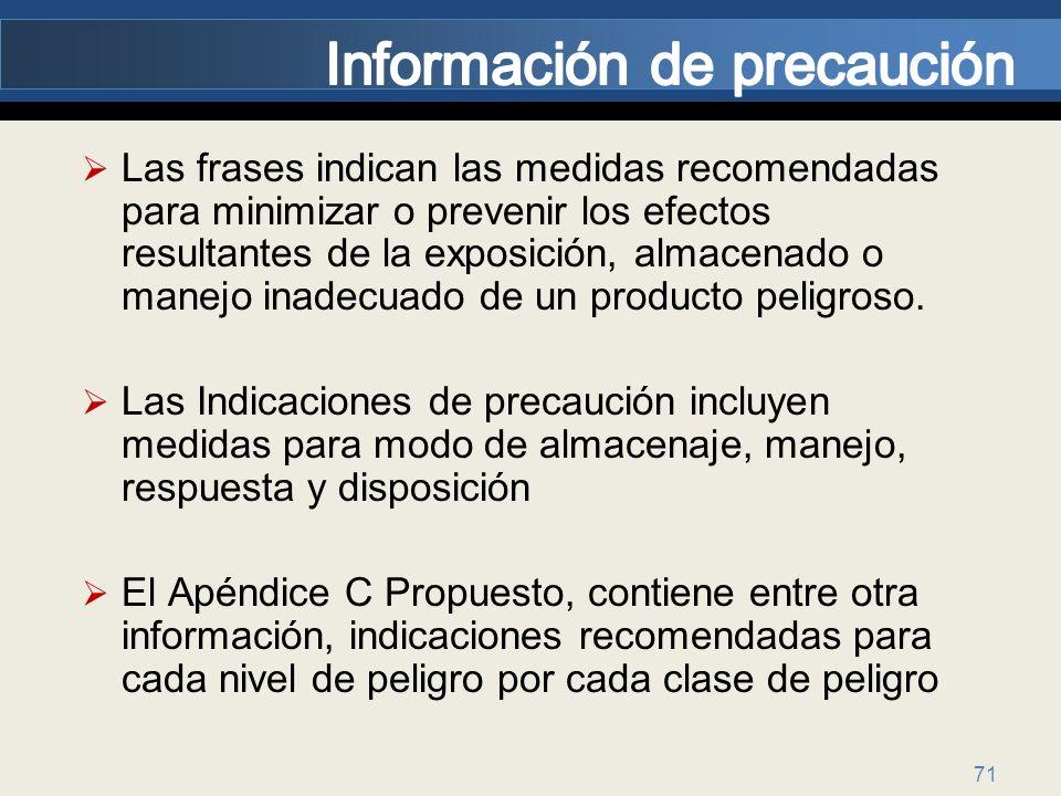 Información de precaución