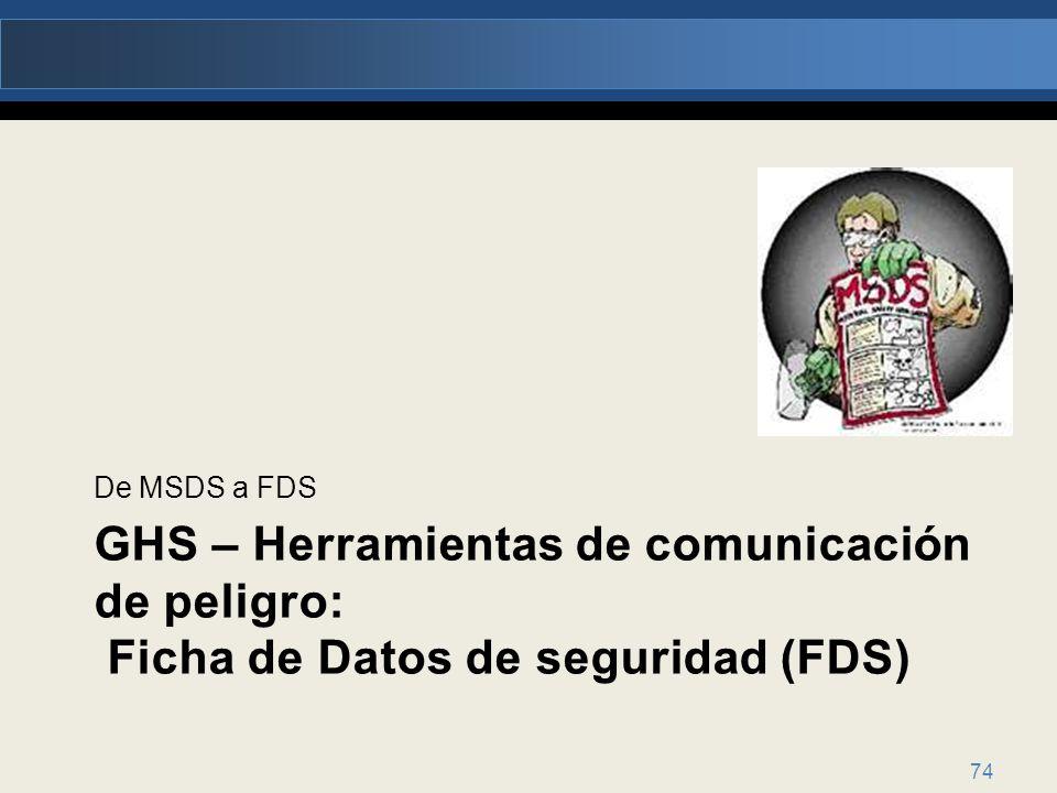 De MSDS a FDS GHS – Herramientas de comunicación de peligro: Ficha de Datos de seguridad (FDS)