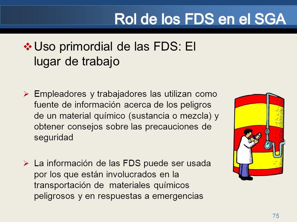 Rol de los FDS en el SGA Uso primordial de las FDS: El lugar de trabajo.