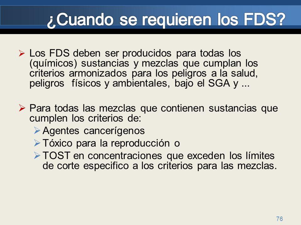 ¿Cuando se requieren los FDS