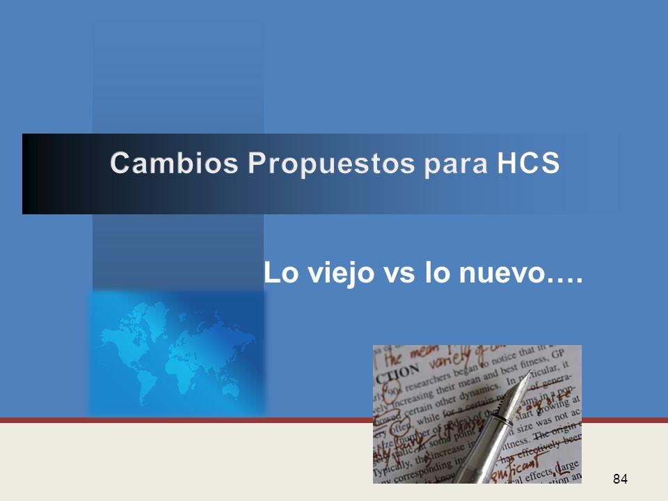 Cambios Propuestos para HCS