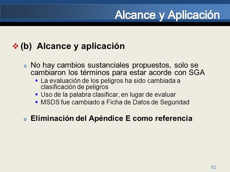 Alcance y Aplicación (b) Alcance y aplicación