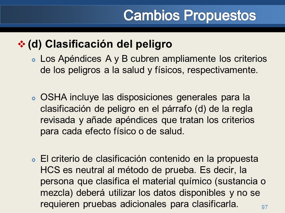 Cambios Propuestos (d) Clasificación del peligro