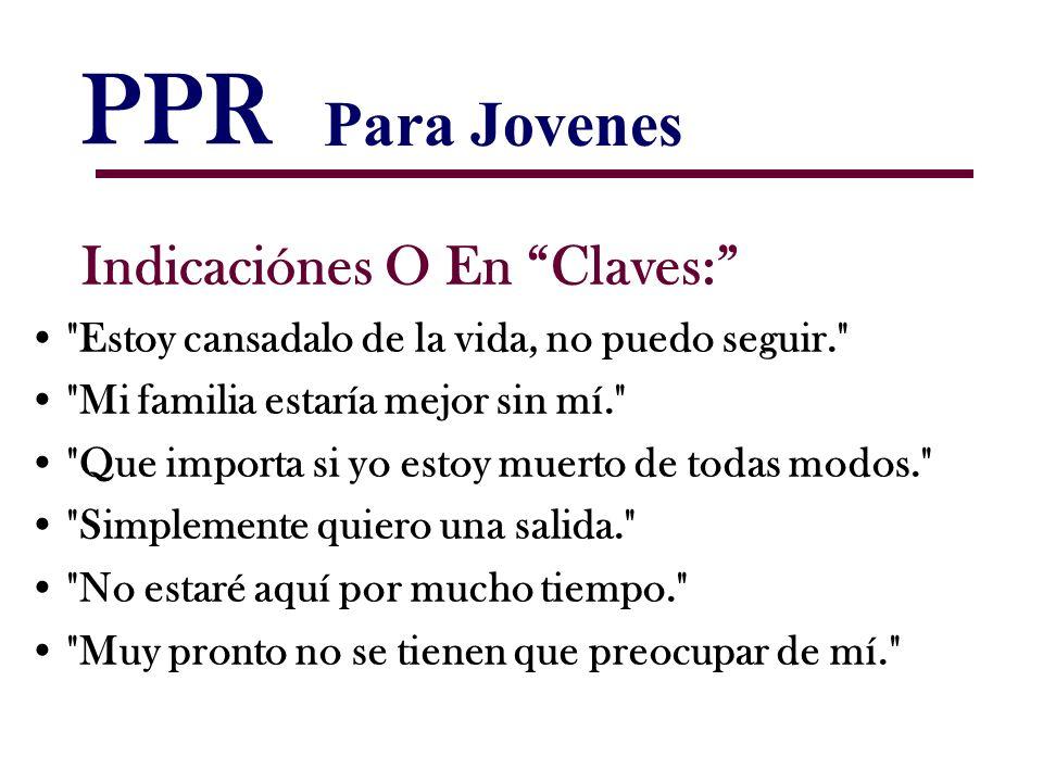 PPR Para Jovenes Indicaciónes O En Claves: