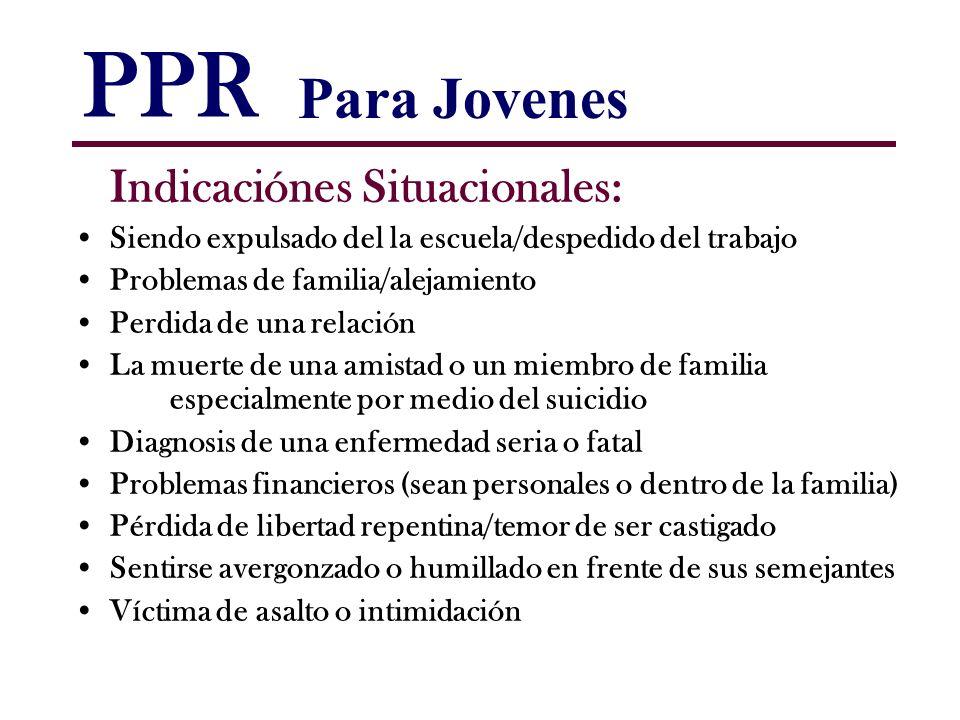 PPR Para Jovenes Indicaciónes Situacionales: