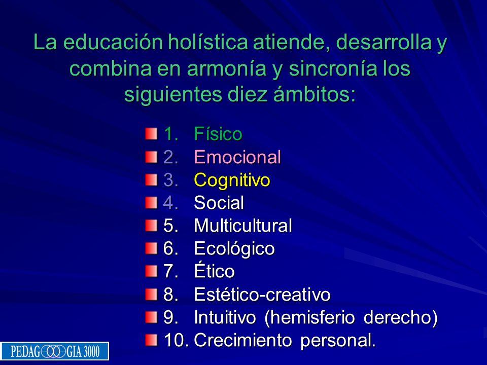 La educación holística atiende, desarrolla y combina en armonía y sincronía los siguientes diez ámbitos: