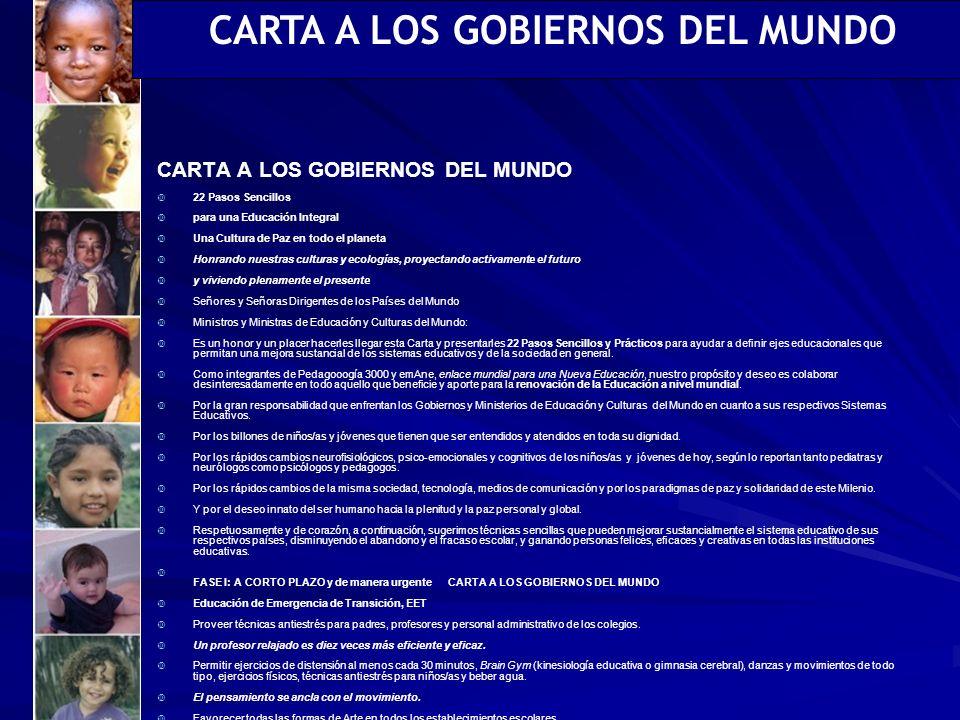 CARTA A LOS GOBIERNOS DEL MUNDO