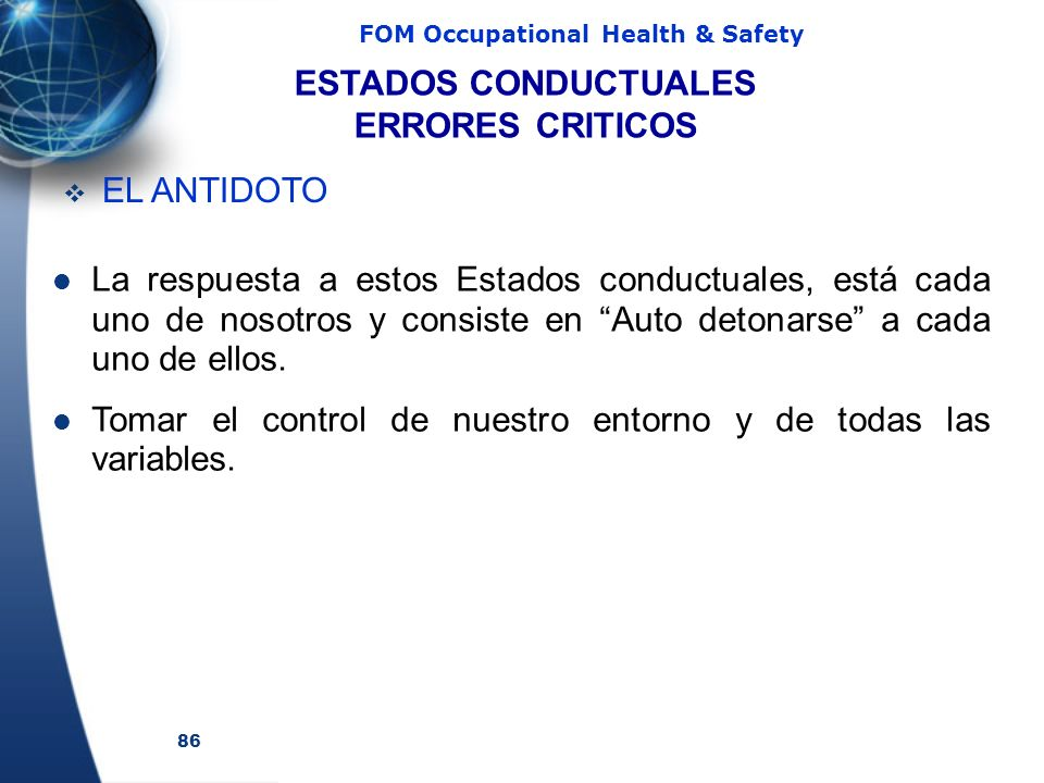 ESTADOS CONDUCTUALES ERRORES CRITICOS. EL ANTIDOTO.