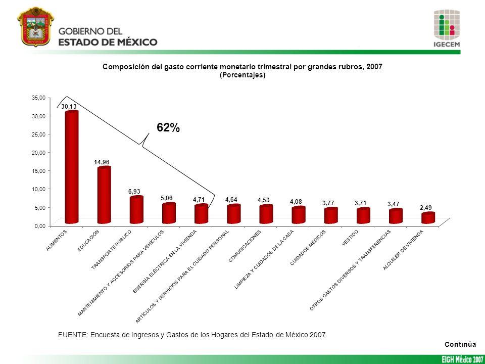 62% FUENTE: Encuesta de Ingresos y Gastos de los Hogares del Estado de México 2007. Continúa