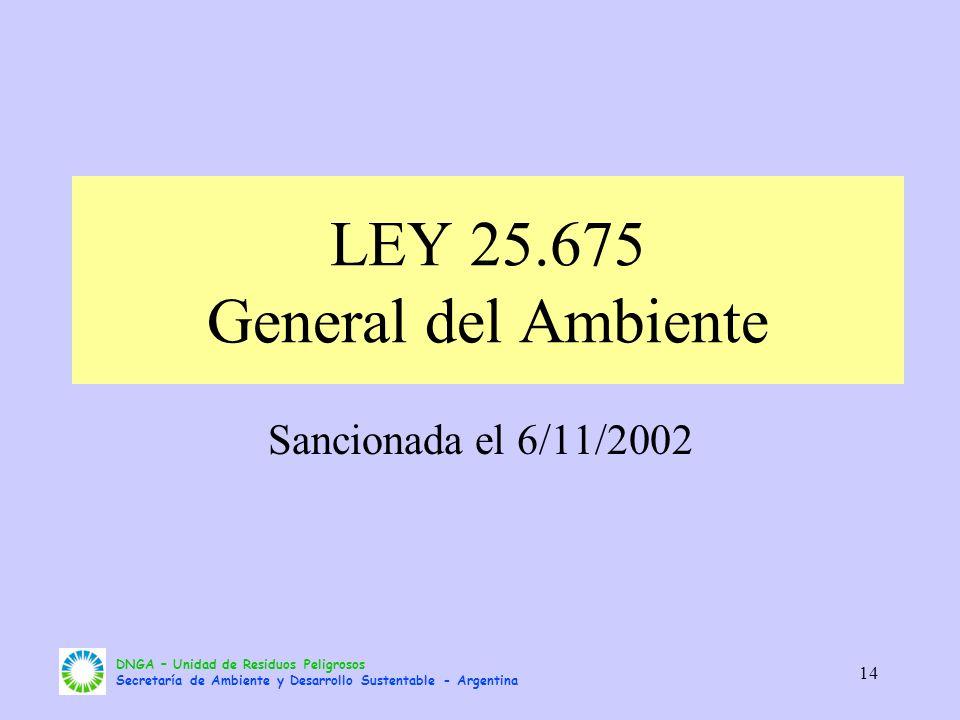 LEY 25.675 General del Ambiente