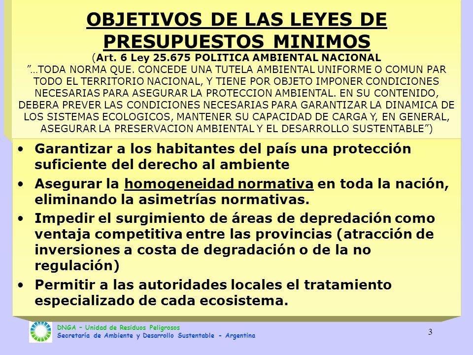 OBJETIVOS DE LAS LEYES DE PRESUPUESTOS MINIMOS