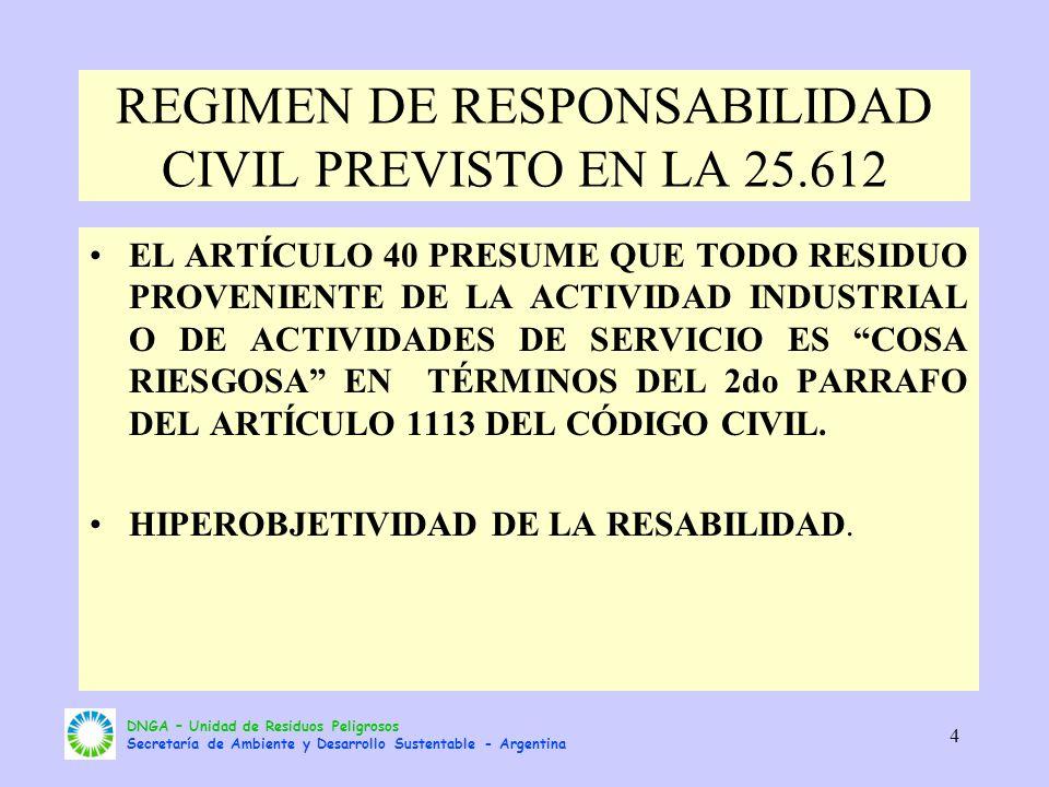 REGIMEN DE RESPONSABILIDAD CIVIL PREVISTO EN LA 25.612