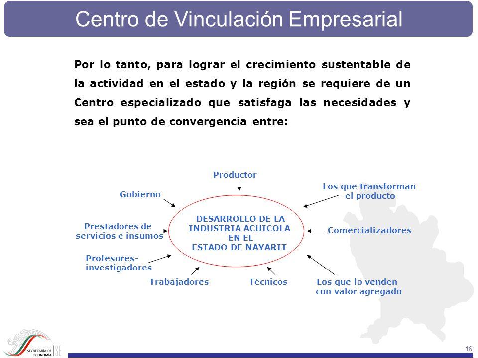 Por lo tanto, para lograr el crecimiento sustentable de la actividad en el estado y la región se requiere de un Centro especializado que satisfaga las necesidades y sea el punto de convergencia entre: