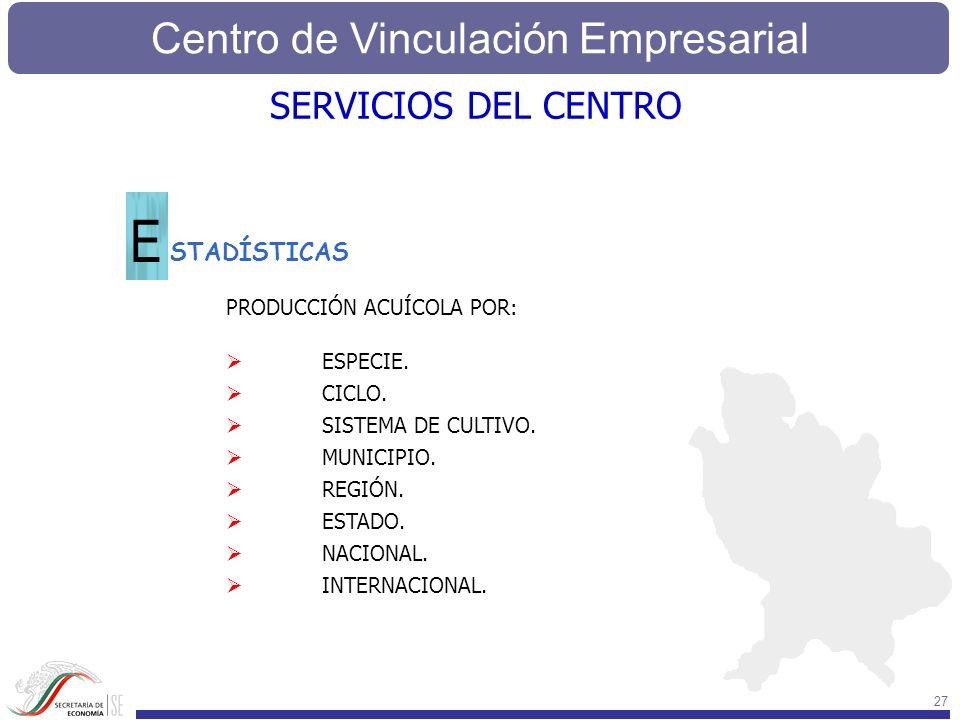 E SERVICIOS DEL CENTRO STADÍSTICAS PRODUCCIÓN ACUÍCOLA POR: ESPECIE.