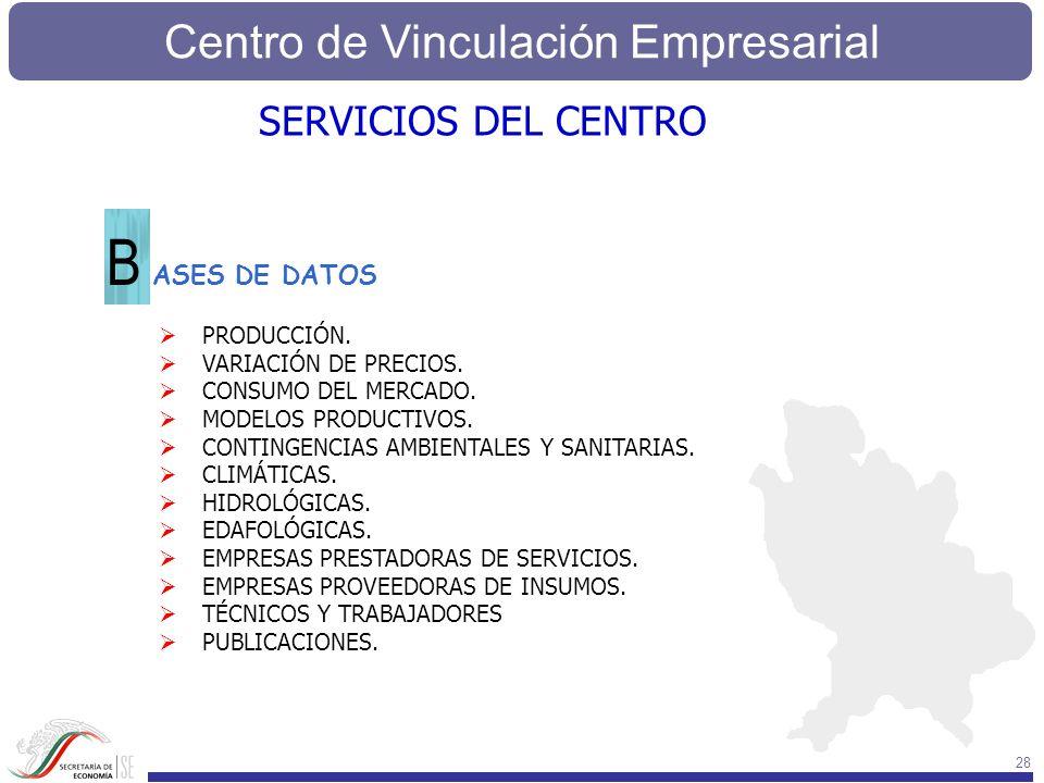 B SERVICIOS DEL CENTRO ASES DE DATOS PRODUCCIÓN. VARIACIÓN DE PRECIOS.