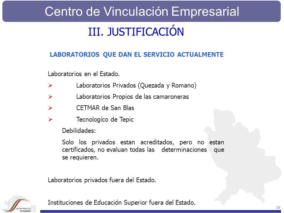 III. JUSTIFICACIÓN LABORATORIOS QUE DAN EL SERVICIO ACTUALMENTE
