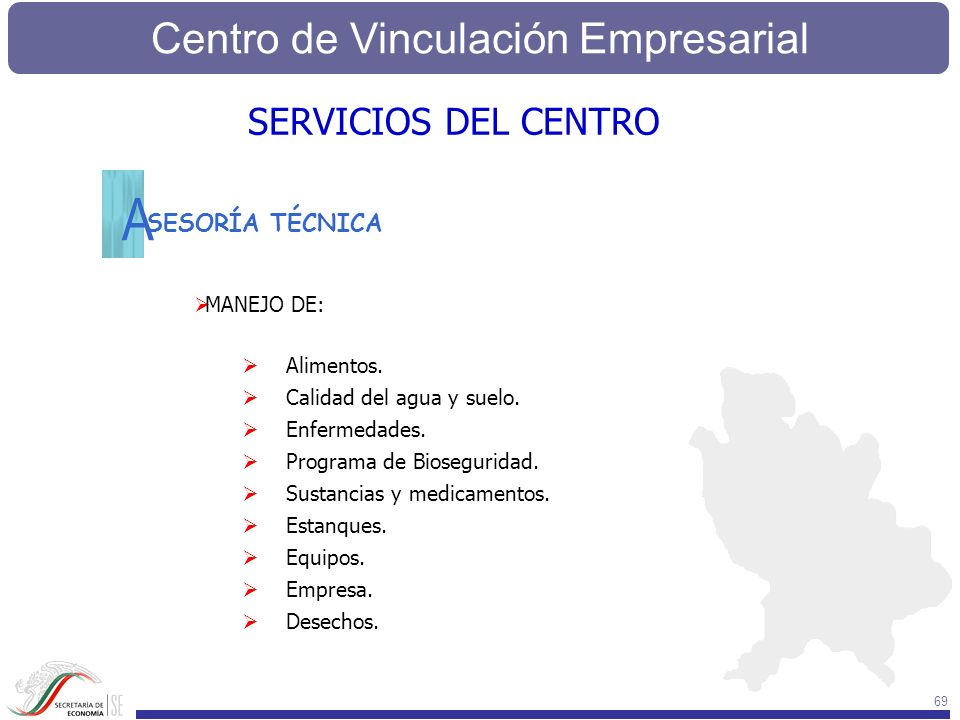 A SERVICIOS DEL CENTRO SESORÍA TÉCNICA MANEJO DE: Alimentos.