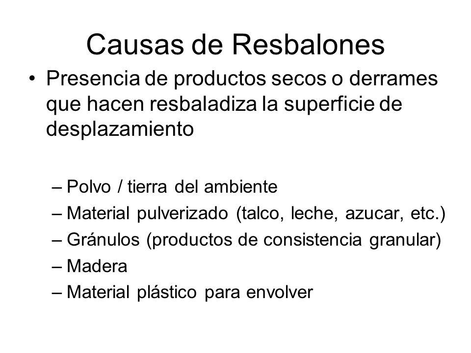 Causas de Resbalones Presencia de productos secos o derrames que hacen resbaladiza la superficie de desplazamiento.