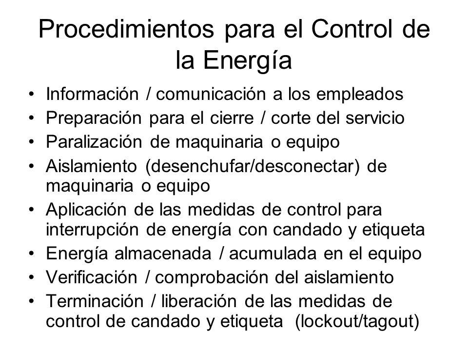 Procedimientos para el Control de la Energía