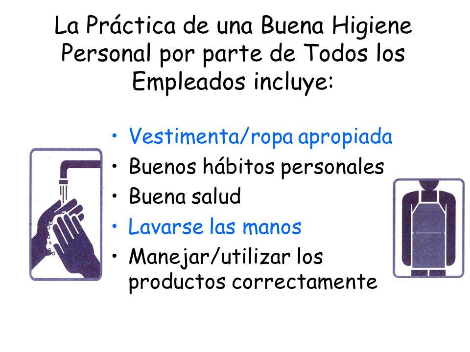 La Práctica de una Buena Higiene Personal por parte de Todos los Empleados incluye: