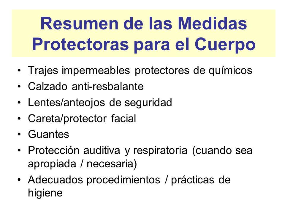 Resumen de las Medidas Protectoras para el Cuerpo
