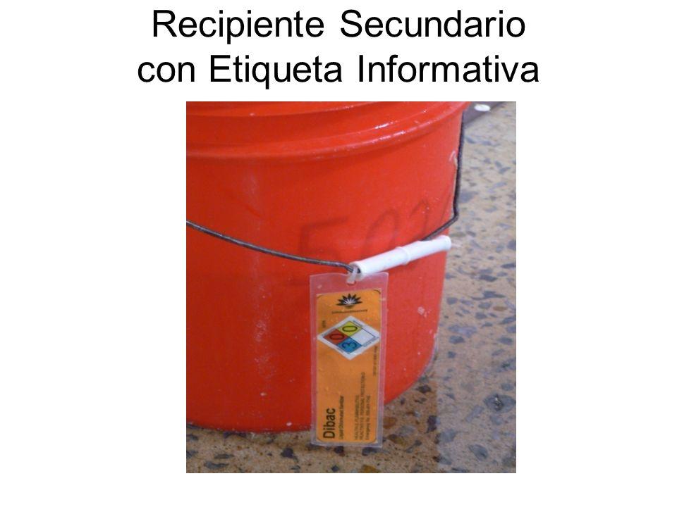 Recipiente Secundario con Etiqueta Informativa