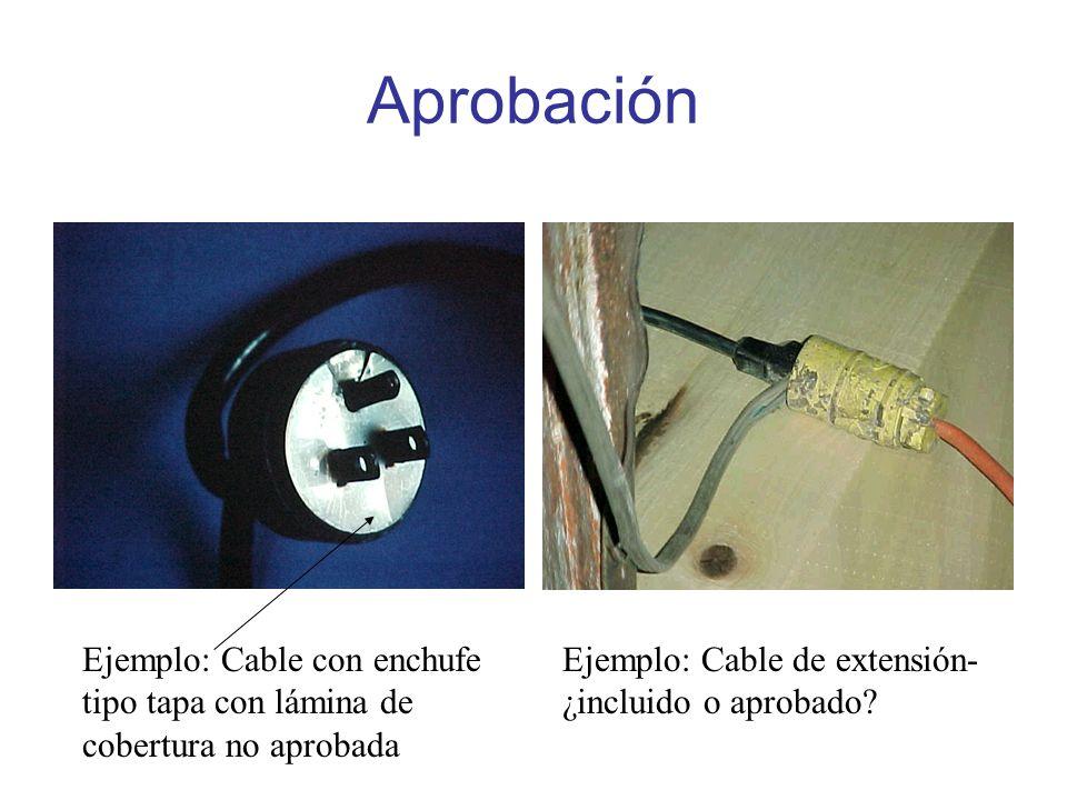 Aprobación Ejemplo: Cable con enchufe tipo tapa con lámina de cobertura no aprobada.